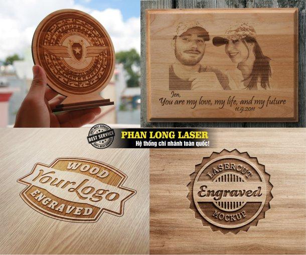 Xưởng gia công laser chuyên nhận khắc hình ảnh logo hoa văn lên gỗ, móc khóa gỗ, biển quảng cáo bằng gỗ